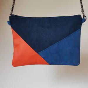 Petite pochette femme a bandouliere en suedine bleue