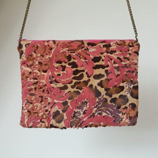 Sac a main en cuir leopard rose