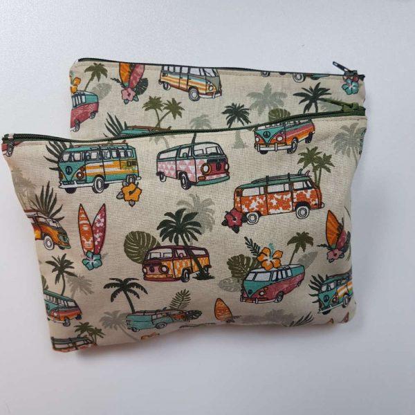 trousse de voyage en tissu avec motif combi volkswagen