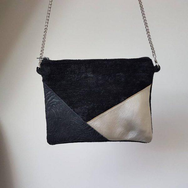 sac pochette de soirée noir et argenté