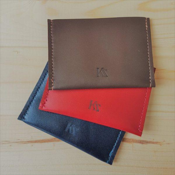 Etui carte bancaire en cuir marron, rouge ou bleu