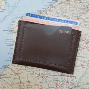 Porte carte identité et permis de conduire en cuir bovin marron