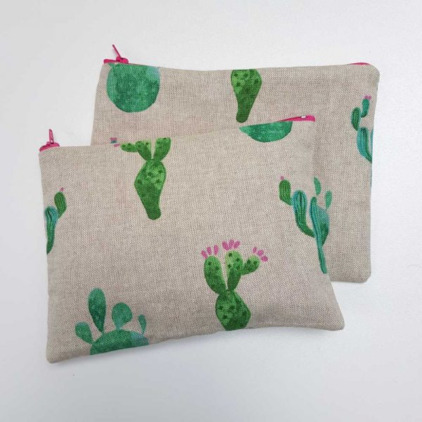 Pochette tissu motif cactus